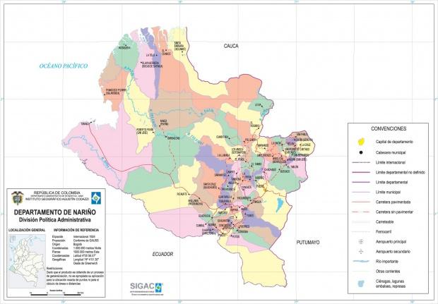 Mapa del Departamento de Nariño, Colombia