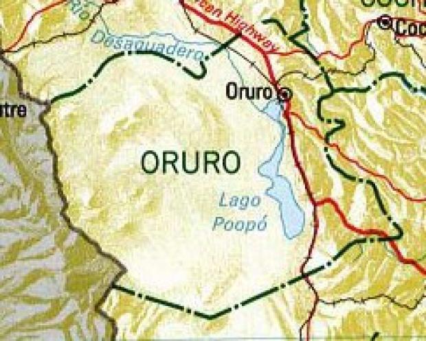 Mapa del Departamento de Oruro, Bolivia