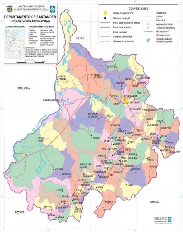 Mapa del Departamento de Santander, Colombia