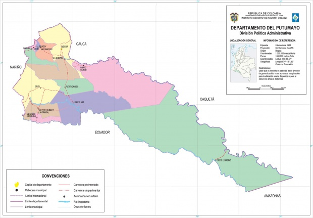 Mapa del Departamento del Putumayo, Colombia
