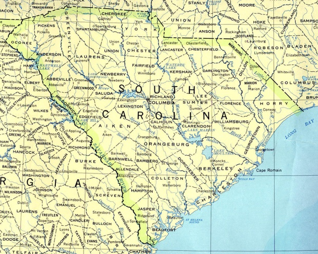 South Carolina State Map, United States