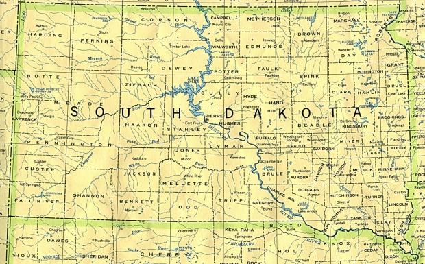 Mapa del Estado de Dakota del Sur, Estados Unidos