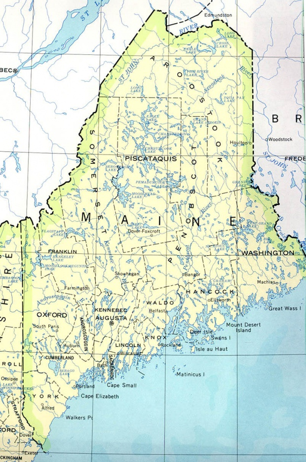 Maine State Map, United States