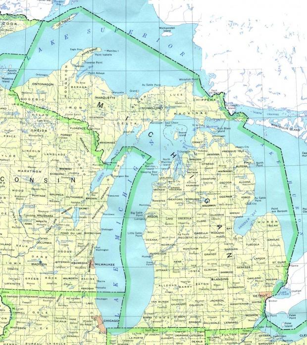 Mapa del Estado de Michigan, Estados Unidos