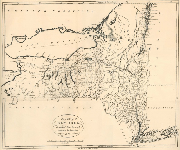 New York State Map, United States 1796