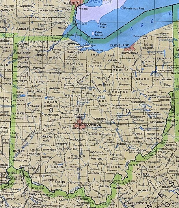 Mapa del Estado de Ohio, Estados Unidos