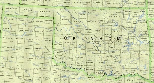 Mapa del Estado de Oklahoma, Estados Unidos