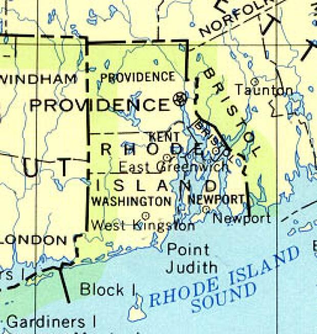 Mapa del Estado de Rhode Island, Estados Unidos