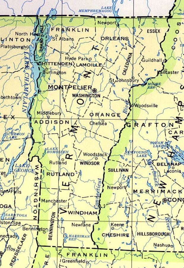 Mapa del Estado de Vermont, Estados Unidos