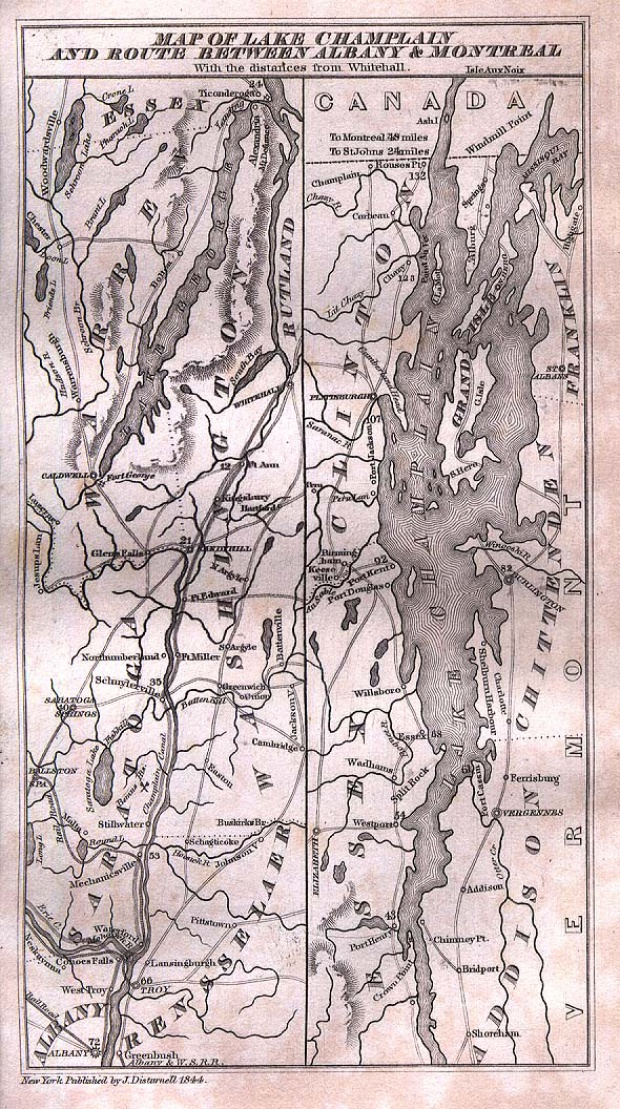 Mapa del Lago Champlain y de las Rutas Entre Albany y Montreal 1844