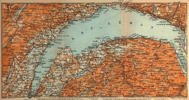 Mapa del Lago Lemán, Francia - Suiza 1914