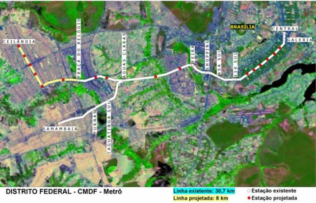Mapa del Metro de Brasilia CMDF, Brasil