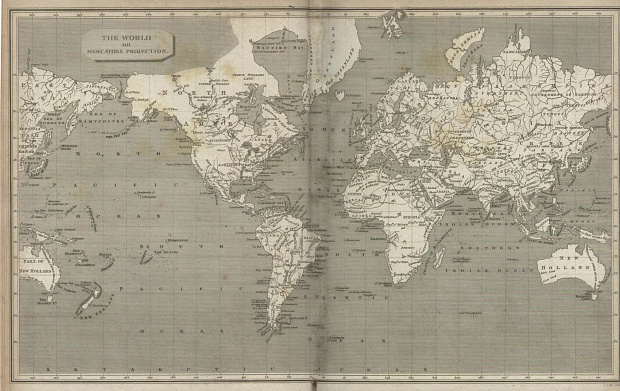 World Map with Mercator Projection 1820
