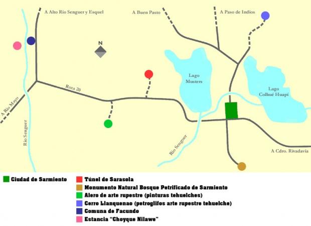 Mapa del Municipio de Sarmiento, Prov. Chubut, Argentina