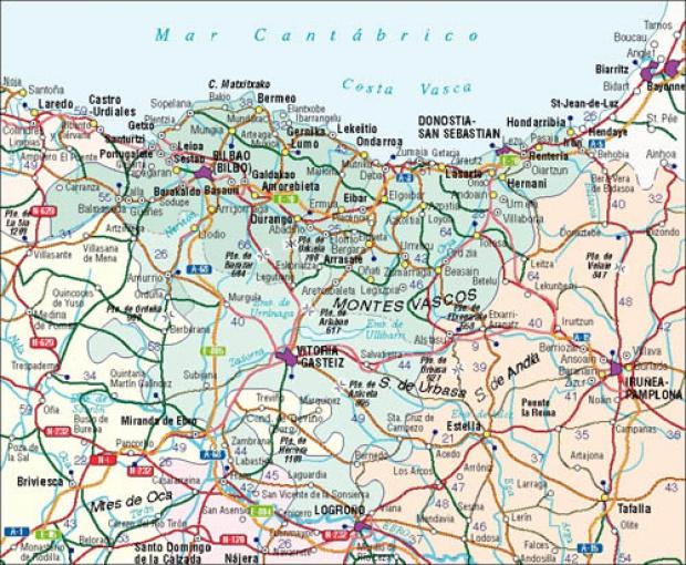 Mapa del Pais Vasco, España