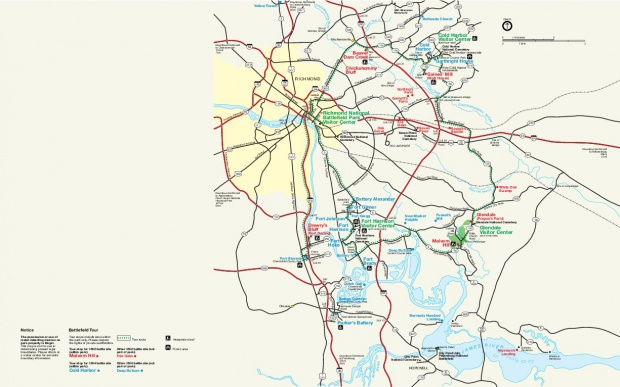 Richmond National Battlefield Park Map, Virginia, United States