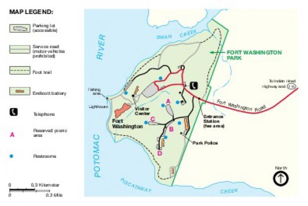 Mapa del Parque Fort Washington, Washington, DC, Estados Unidos