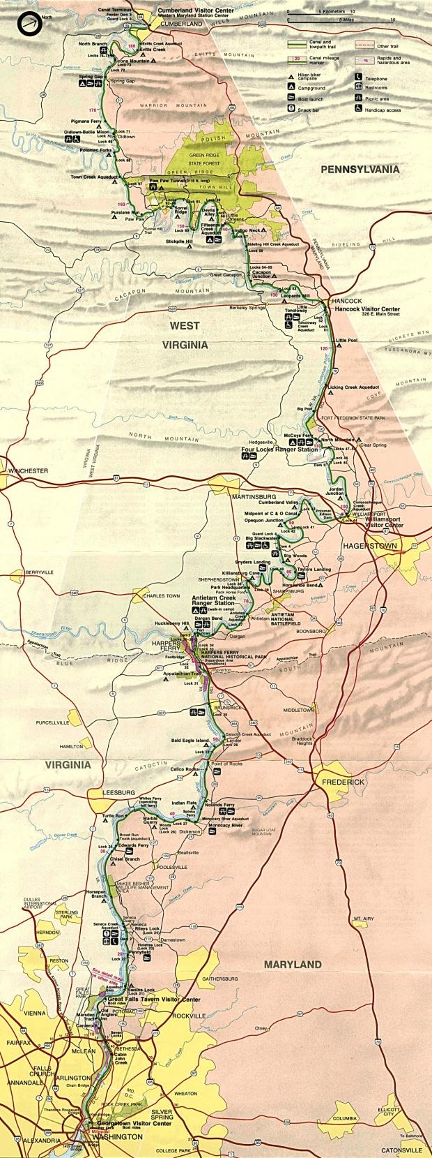 Mapa del Parque Histórico Nacional del Canal de Chesapeake y Ohio, Washington D.Circa, Maryland, Virginia Occidental, Estados Unidos