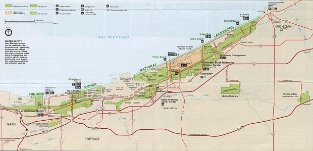 Mapa del Parque Indiana Dunes Ribera de lago Nacional, Indiana, Estados Unidos