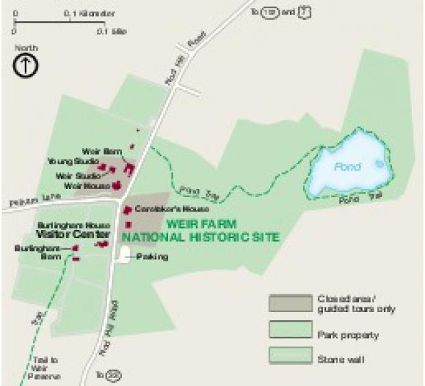 Mapa del Parque Nacional Histórico Weir Farm, Connecticut, Estados Unidos