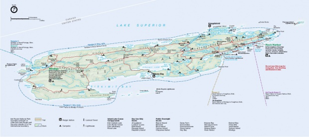 Mapa del Parque Nacional Isle Royale, Michigan, Estados Unidos