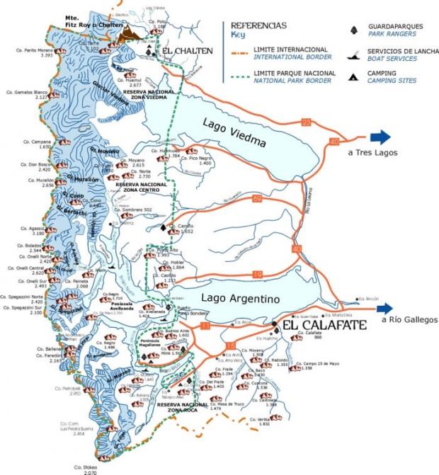 Mapa del Parque Nacional Los Glaciares, Prov. Santa Cruz, Argentina