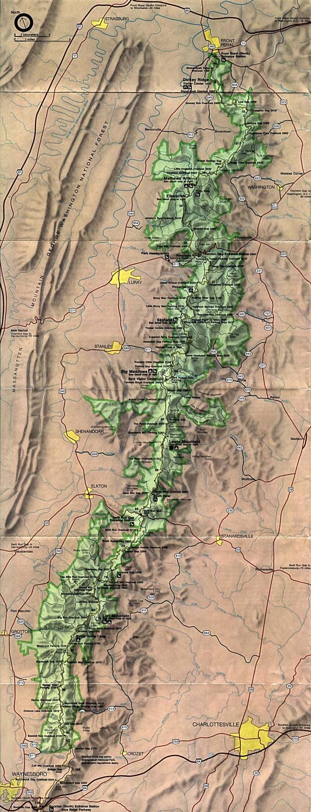 Mapa del Parque Nacional Shenandoah, Virginia, Estados Unidos