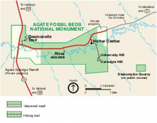 Mapa del Parque de Agate Fossil Beds Monumento Nacional, Estados Unidos