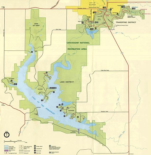 Mapa del Parque de Chickasaw Área Nacional de Recreación, Oklahoma, Estados Unidos