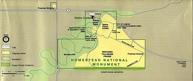 Mapa del Parque del Monumento Nacional Homestead, Nebraska, Estados Unidos