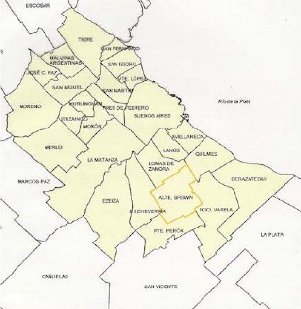 Mapa del Partido Almirante Brown, Prov. Buenos Aires, Argentina
