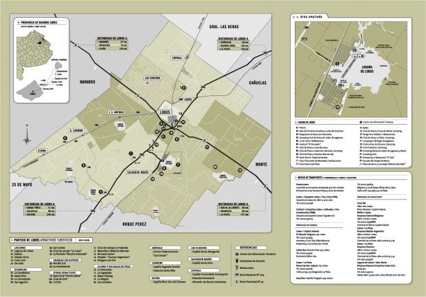 Mapa del Partido de Lobos, Prov. Buenos Aires, Argentina