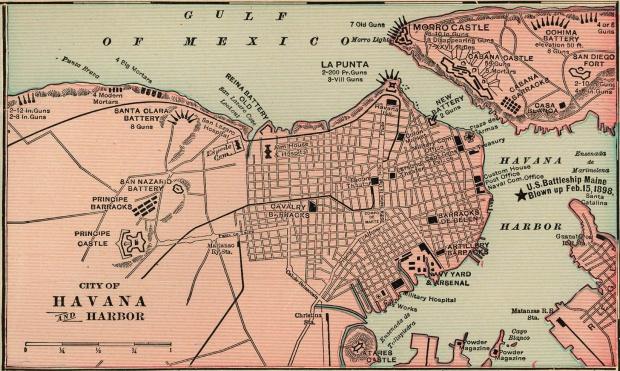 Havana Harbor Map, Cuba 1901