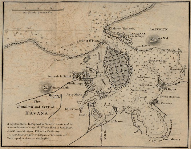 Havana Harbour and City Map, Cuba 1882