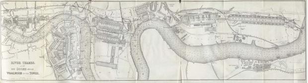 Mapa del Río Támesis, Londres 1882