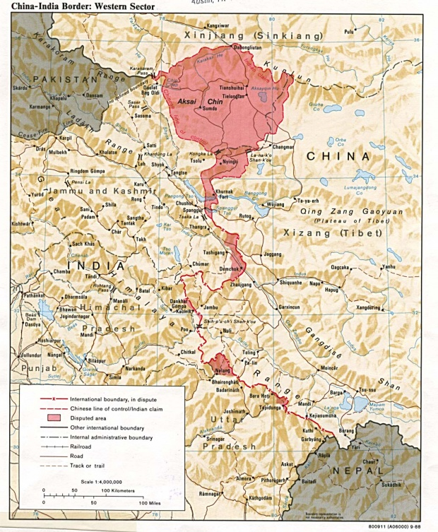 Map of China-India Border Western Sector