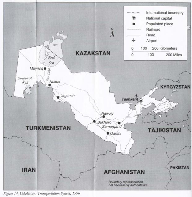 Mapa del Sistema de Transporte de Uzbekistán