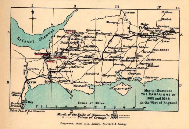 Mapa del Suroeste de Inglaterra, Ilustrando la Campaña de 1685 - 1688