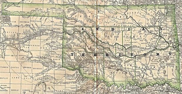 Mapa del Territorio Indígena, Oklahoma 1884