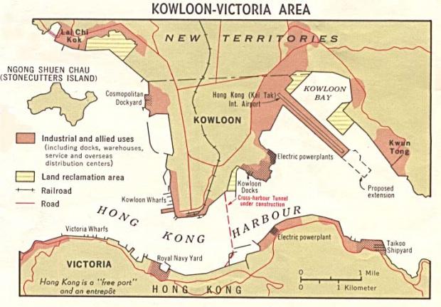 Mapa del Uso de la Tierra de la Región de Kowloon-Victoria, Hong Kong