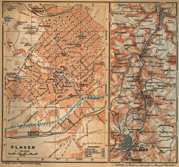 Map of Elster Valley from Plauen to Greiz, Germany 1910