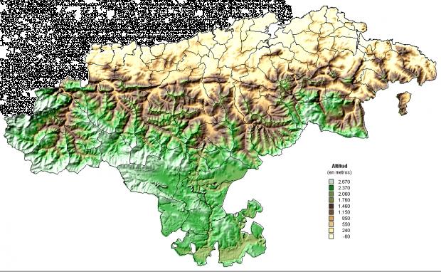 Mapa físico de Cantabria 2005
