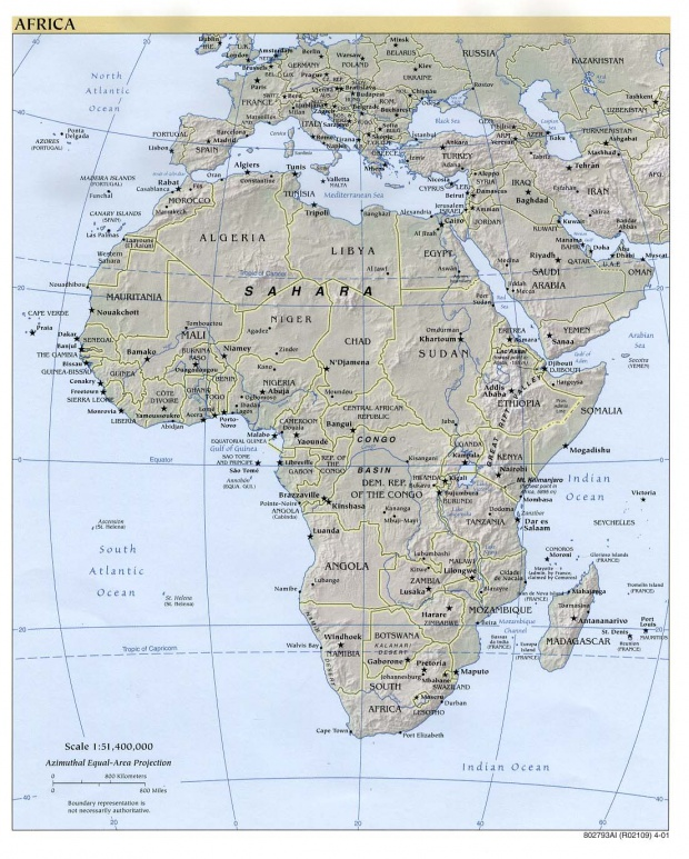 Africa physical map 2001