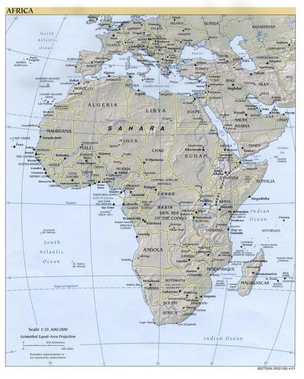 Mapa físico de África 2001