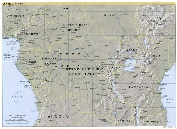 Mapa físico de África Central 2001