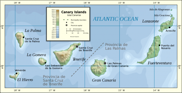 Canary Islands physical map 2007