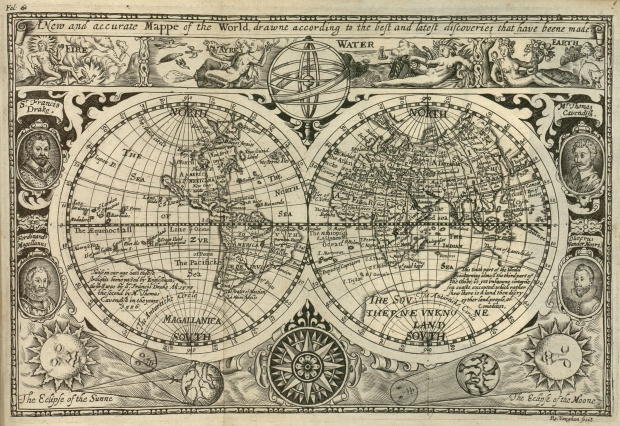 Mapa histórico del mundo 1628