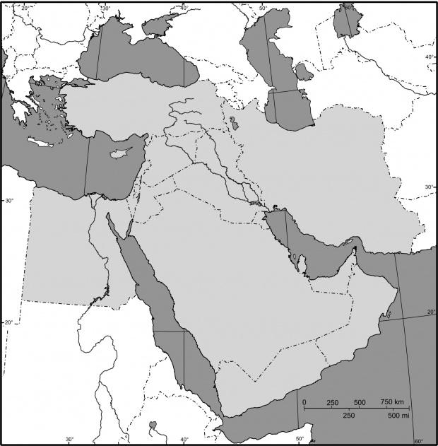Mapa mudo de Oriente Medio