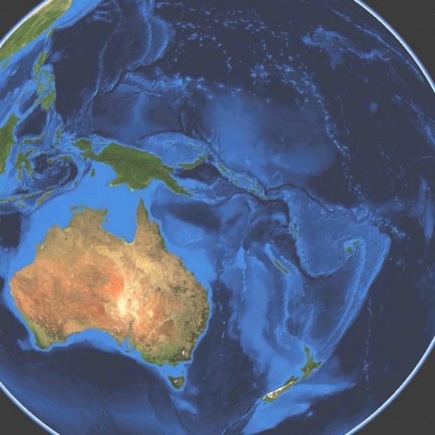 Mapa satelital de Oceanía