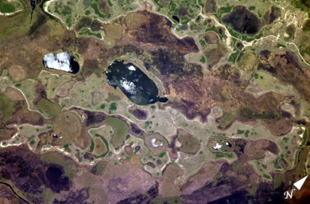 Mapa satelital de las lagunas del Iberá, noreste de Argentina